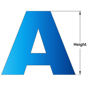 metal letter height